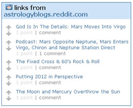 Example of the Reddit widget for the Astrology Blogs page
